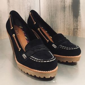 Sperry Black Suede Penny Loafer Heels Size 9.5M